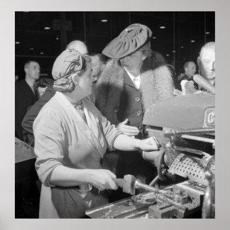 Eleanor Roosevelt en WWII, 1942 Póster