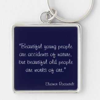 Eleanor Roosevelt Silver-Colored Square Keychain