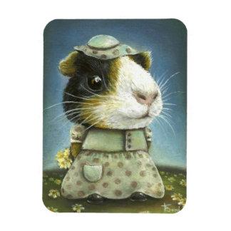 Eleanor the guinea pig picking daisies rectangular photo magnet