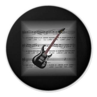 Elec Guitar ~3-D Sheet Music Pillow ~Gray/Black BG Ceramic Knob