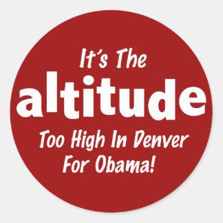 Elección 2012 Obama anti es la altitud Pegatina Redonda