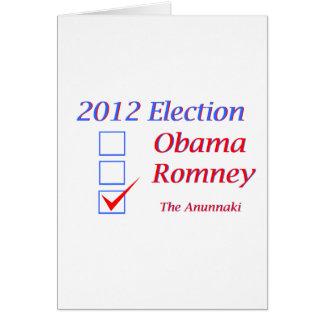Elección 2012 Obama Romney Anunnaki Tarjeta De Felicitación