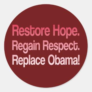 Elección anti 2012 de Obama Pegatina Redonda