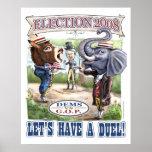 Elección política 2008 del duelo de la mascota poster