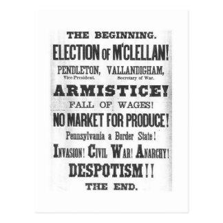 Elección presidencial 1864 tarjetas postales