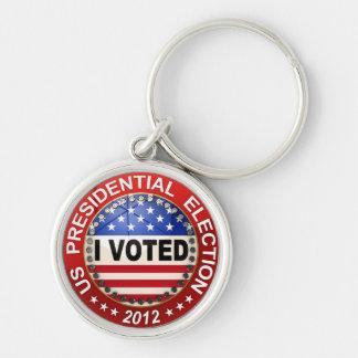 Elección presidencial 2012 que voté llavero redondo plateado