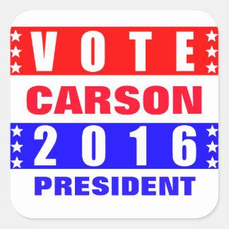 Elección presidencial de Carson 2016 del voto Pegatina Cuadrada