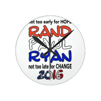 Elección presidencial de Paul Ryan 2016 del rand Relojes De Pared