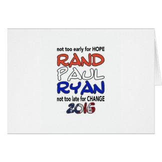 Elección presidencial de Paul Ryan 2016 del rand Tarjeta De Felicitación