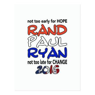 Elección presidencial de Paul Ryan 2016 del rand Tarjetas Postales