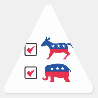Elección republicana Ballo del burro de Demócrata Pegatina Triangular