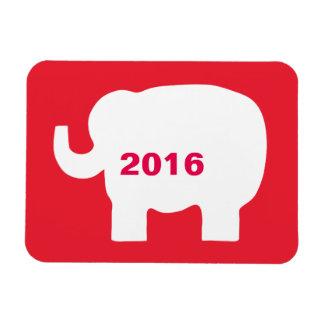 Elección republicana blanca roja 2016 del elefante imán rectangular