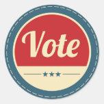 Elección retra del voto pegatina redonda