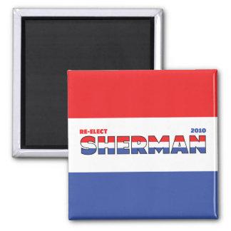 Elecciones blanco de Sherman 2010 del voto y azul  Imán Cuadrado