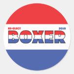Elecciones blanco del boxeador 2010 del voto y pegatina redonda