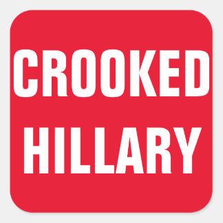 Elecciones torcidas 2016 de Hillary Pegatina Cuadrada