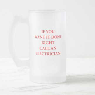 elecrician frosted glass beer mug