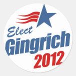 Elect Gingrich 2012 Classic Round Sticker
