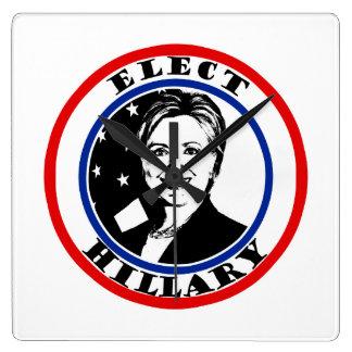 Elect Hillary Clinton Square Wall Clocks