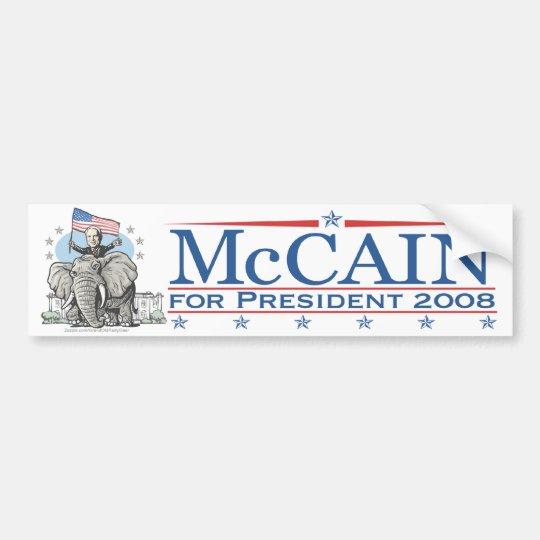 Elect McCain GOP Elephant 2008 Bumper Sticker