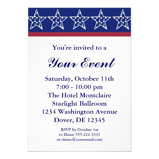 Election Campaign Party Invitations or 4th of July