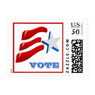 Election Campaign Postage Stamp with American Flag