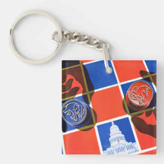 Election Checkerboard Double-Sided Square Acrylic Keychain