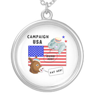 Election Day Campaign USA Silver Plated Necklace