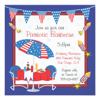 Election Day Patriotic Picnic BBQ Party Invitation