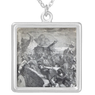 Election Riot at Hawick Square Pendant Necklace