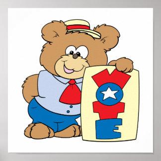 election VOTE teddy bear design 2 Print