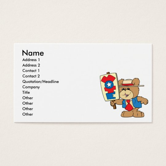 election VOTE teddy bear design Business Card