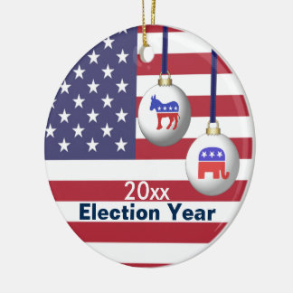 Election Year Republican or Democratic Christmas Ceramic Ornament