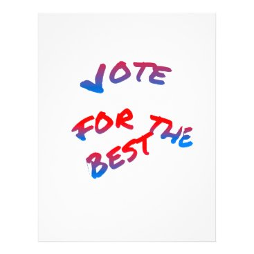 USA Themed Elections, Vote for the best. Tricolor text art Letterhead