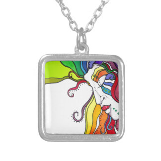 Electra Pop Art Diva Silver Plated Necklace