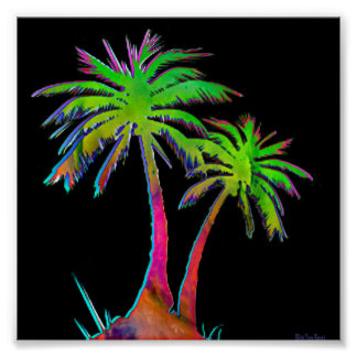 Electric 80's Palm Tree Poster
