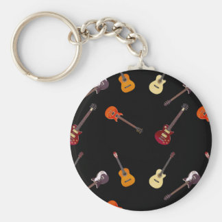 Electric & Acoustic Guitar Collage Basic Round Button Keychain