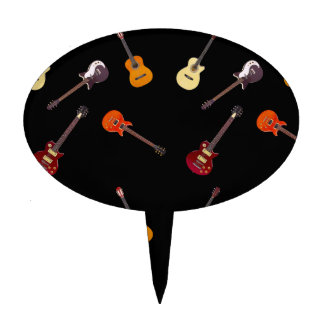 Electric & Acoustic Guitar Collage Cake Topper