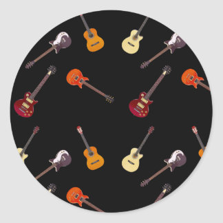 Electric & Acoustic Guitar Collage Classic Round Sticker