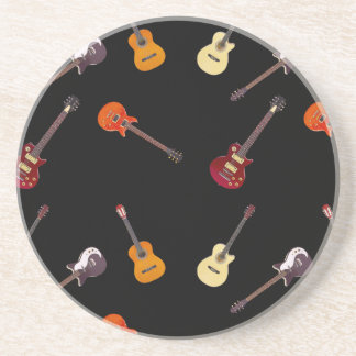 Electric & Acoustic Guitar Collage Drink Coaster