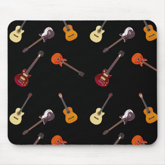 Electric & Acoustic Guitar Collage Mouse Pad