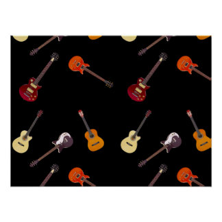 Electric & Acoustic Guitar Collage Poster