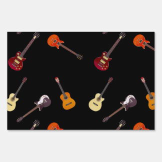 Electric & Acoustic Guitar Collage Sign