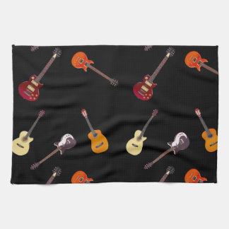 Electric & Acoustic Guitar Collage Towel