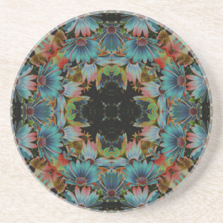 Electric African Daisy Kaleidoscope Floral Coaster