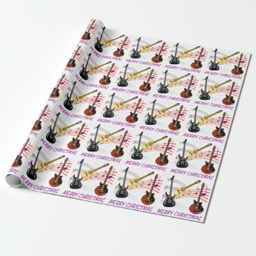 Christmas Themed Electric and Acoustic Guitars Music Note Christmas Wrapping Paper