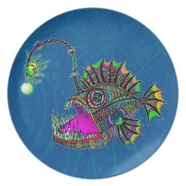 Beach Themed Electric Angler Fish Dinner Plate