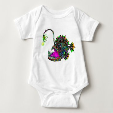 Beach Themed Electric Angler Fish Infant Creeper