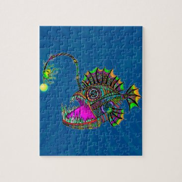 Beach Themed Electric Angler Fish Jigsaw Puzzle