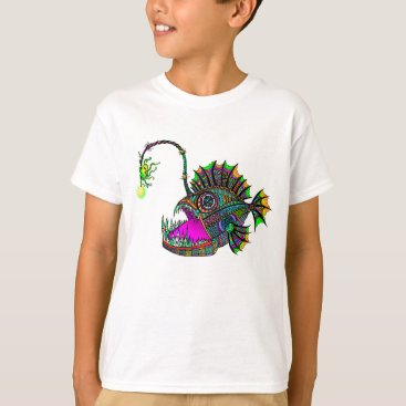 Beach Themed Electric Angler Fish Kids Tee